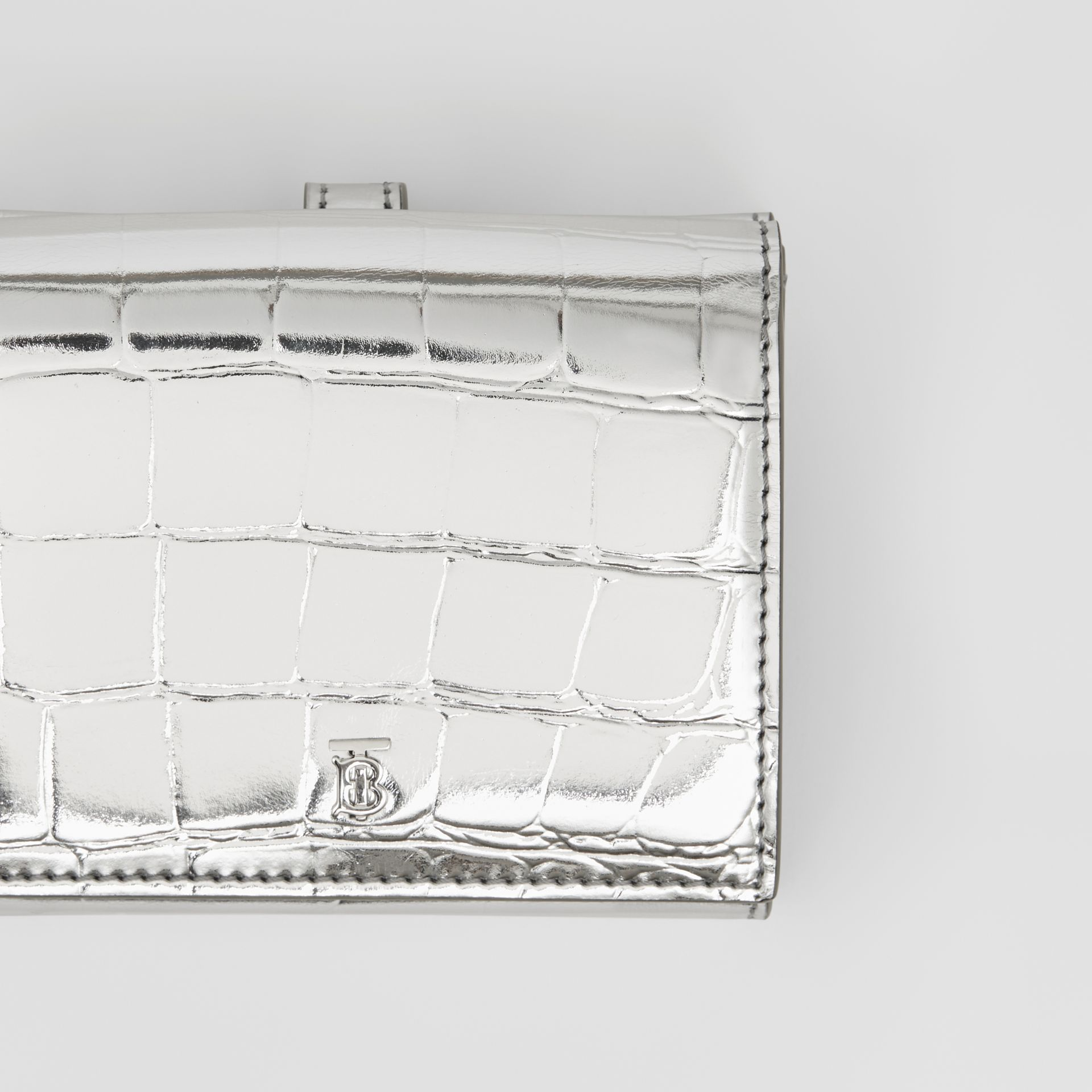 Metallic Embossed Folding Wallet in Silver - Women | Burberry United Kingdom - gallery image 1