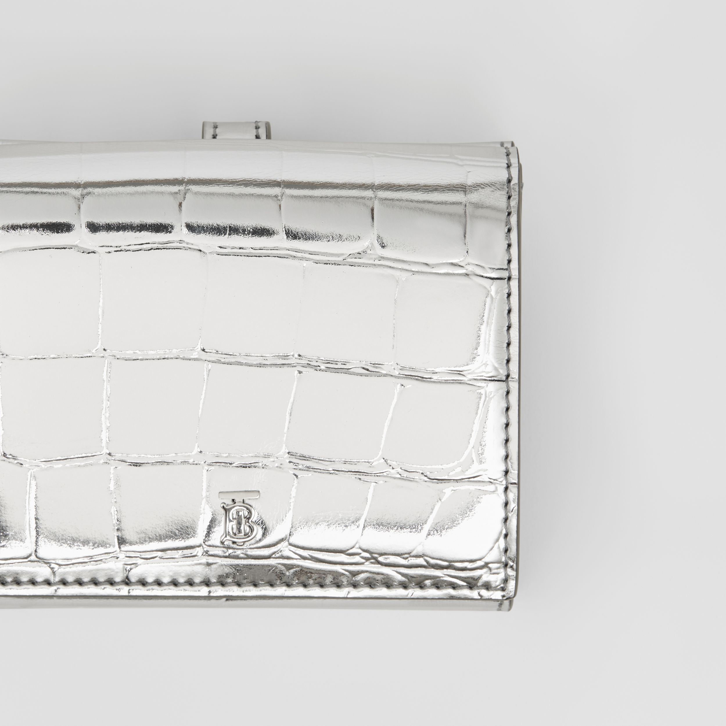 Metallic Embossed Folding Wallet in Silver - Women | Burberry - 2