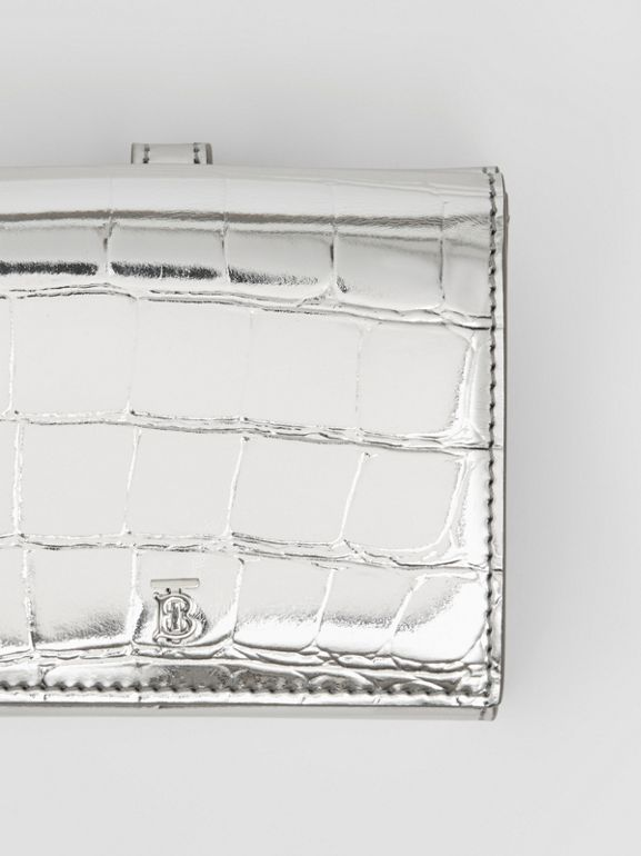 Metallic Embossed Folding Wallet in Silver - Women | Burberry United Kingdom - cell image 1