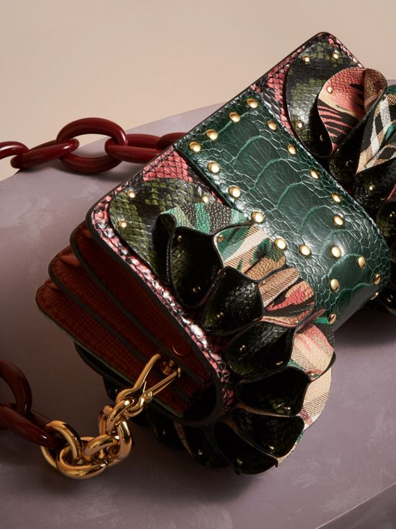 The Ruffle Buckle Bag in Snakeskin, Ostrich and Check in Rose Pink - cell image 3
