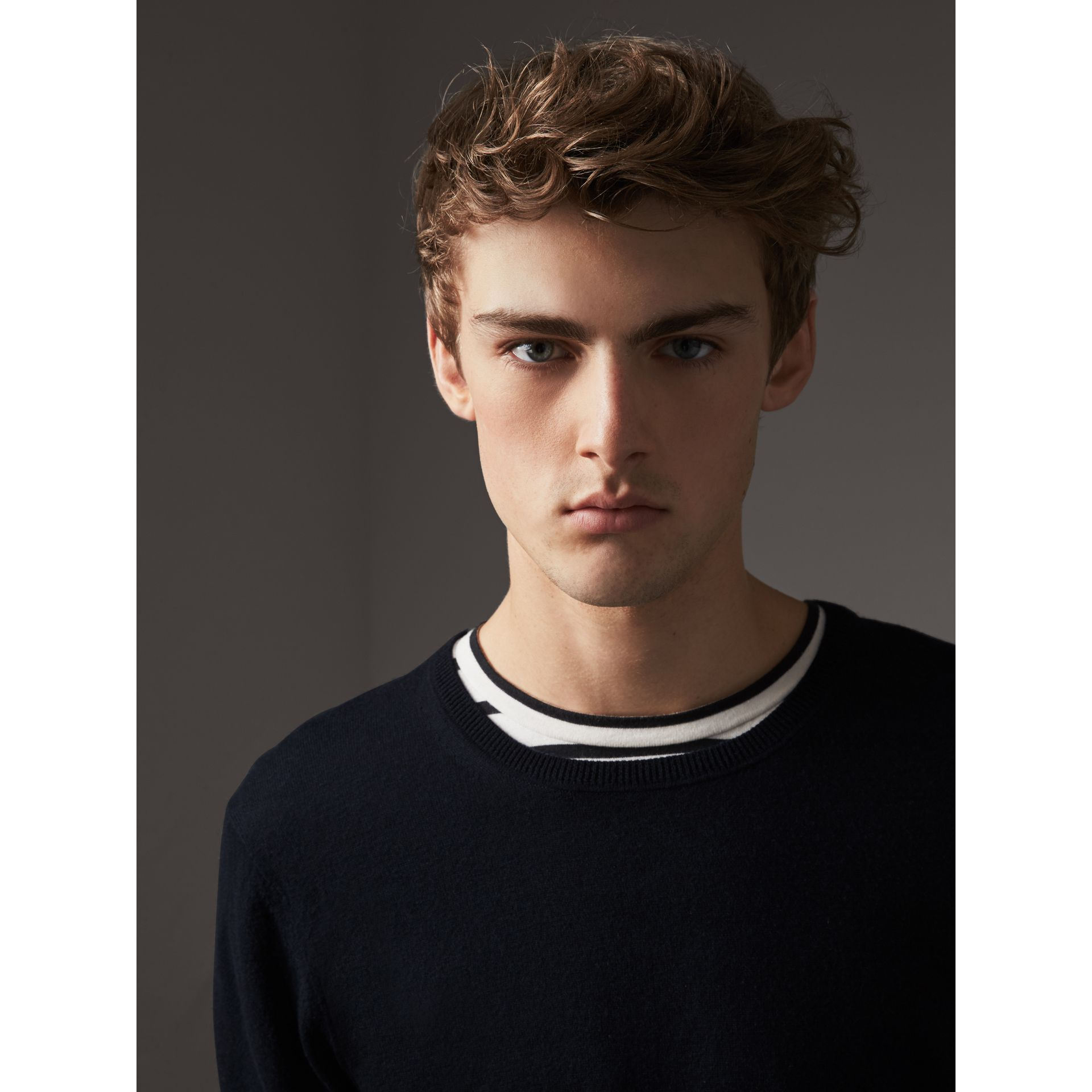Check Trim Cashmere Cotton Sweater in Navy - Men | Burberry - gallery image 2