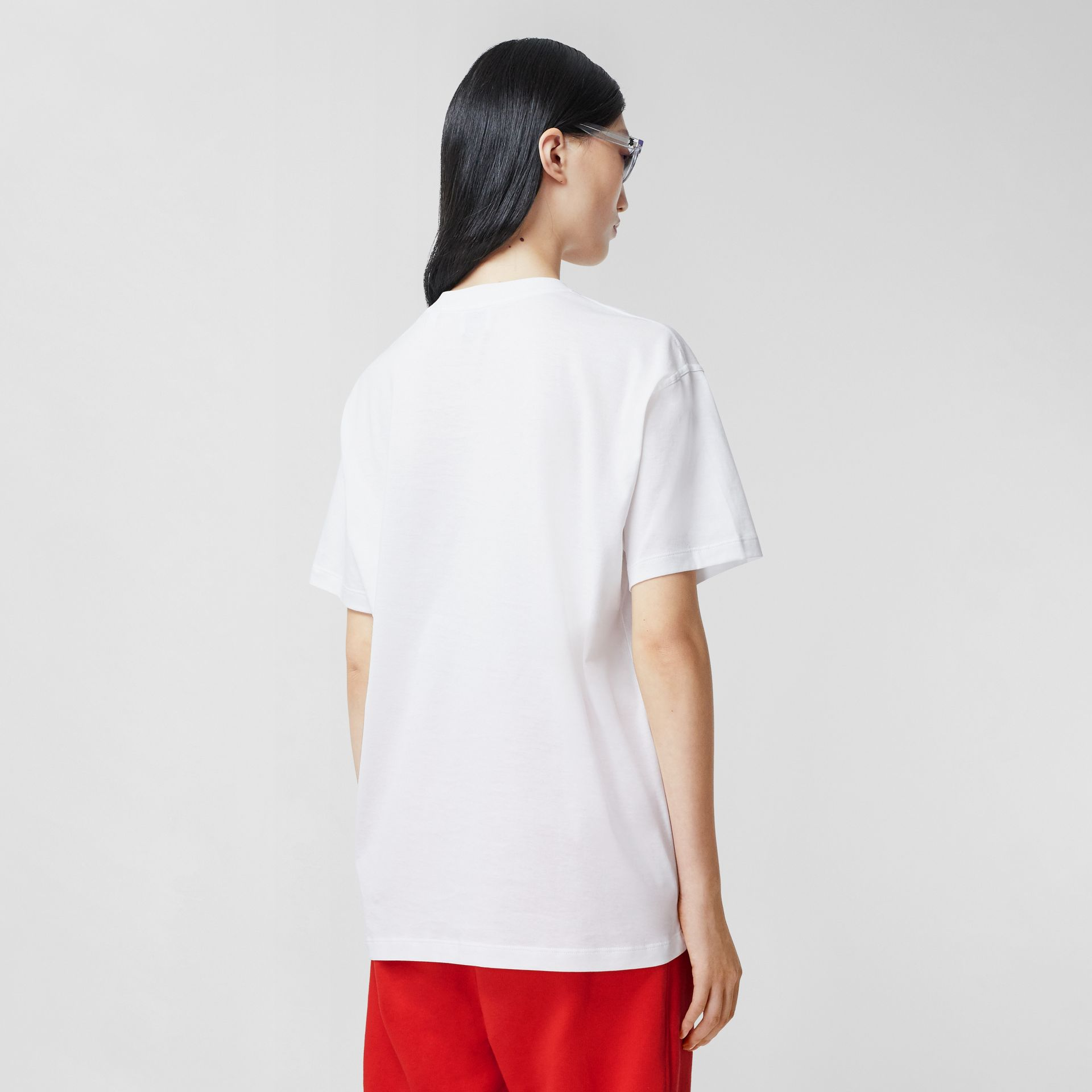Monogram Motif Cotton Oversized T-shirt in White - Women | Burberry United Kingdom - gallery image 2