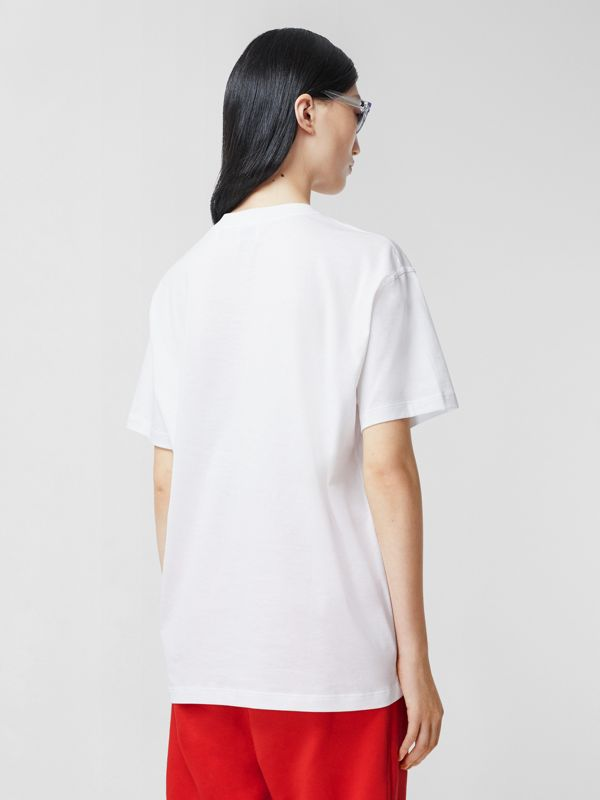 Monogram Motif Cotton Oversized T-shirt in White - Women | Burberry United Kingdom - cell image 2