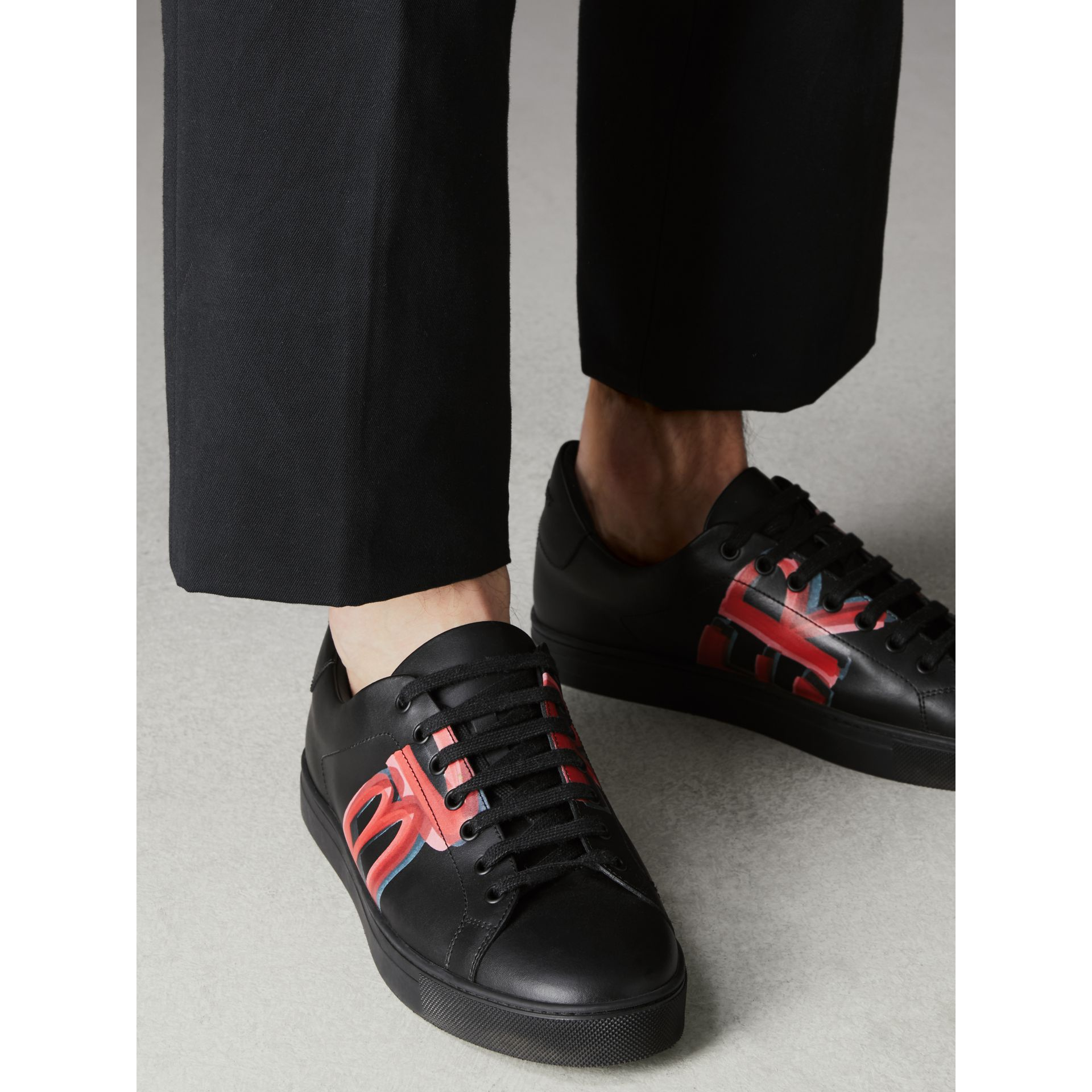 Logo Print Leather Sneakers in Black/bright Red - Men | Burberry Canada - gallery image 2