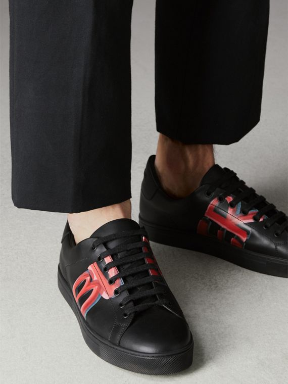 Logo Print Leather Sneakers in Black/bright Red - Men | Burberry - cell image 2