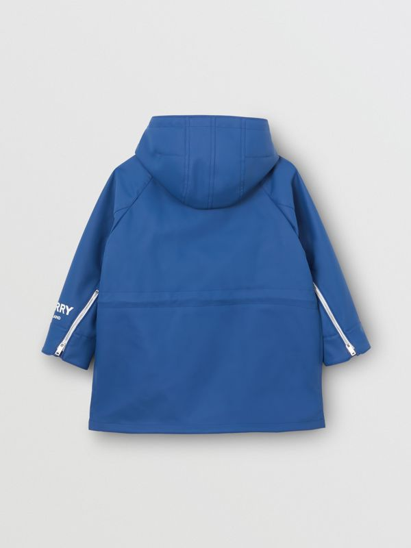 Logo Print Showerproof Hooded Jacket in Imperial Blue | Burberry Singapore - cell image 3