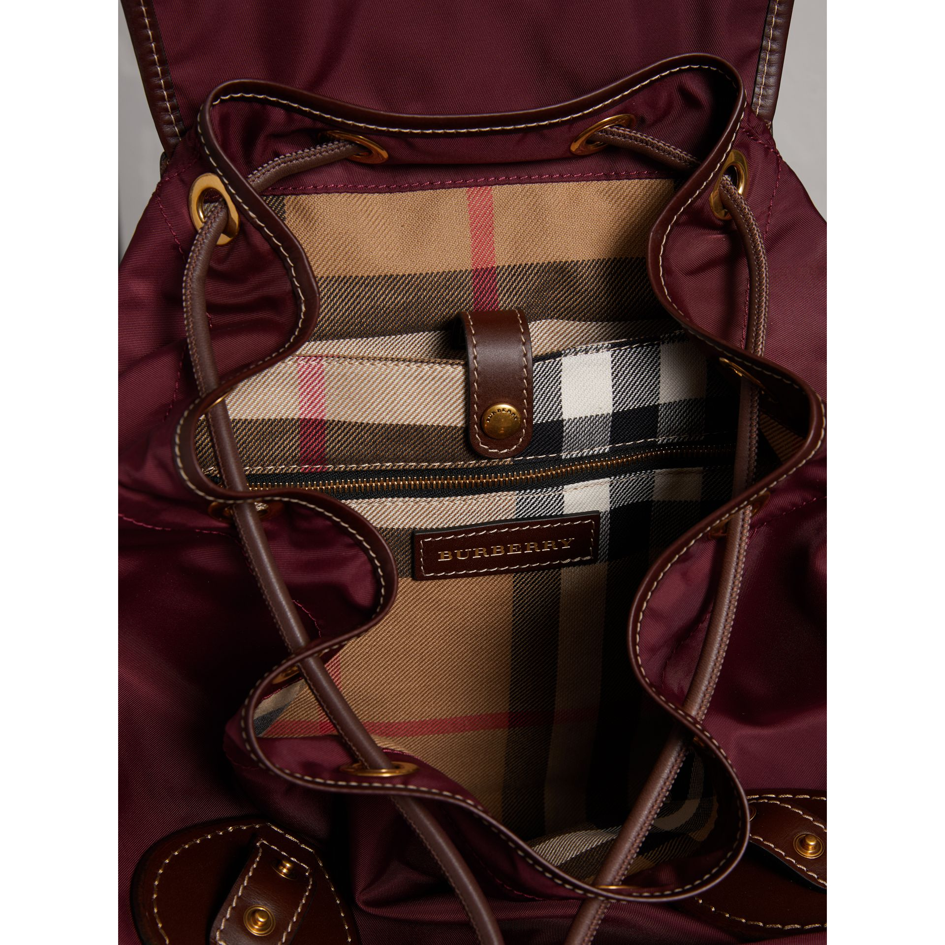 The Large Rucksack in Technical Nylon and Topstitched Leather in Burgundy Red - Men | Burberry - gallery image 5