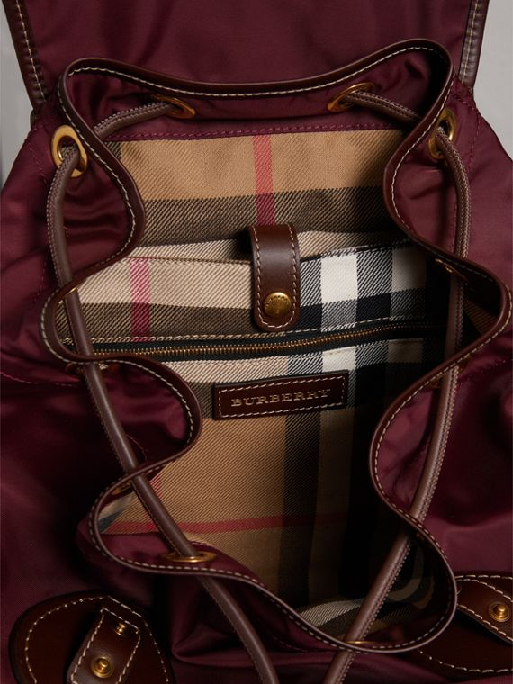 The Large Rucksack in Technical Nylon and Topstitched Leather in Burgundy Red - Men | Burberry - cell image 3