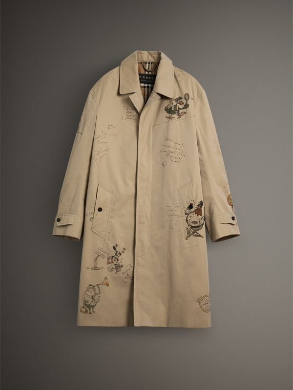 Sketch Print Tropical Gabardine Car Coat in Honey - Men | Burberry - cell image 3