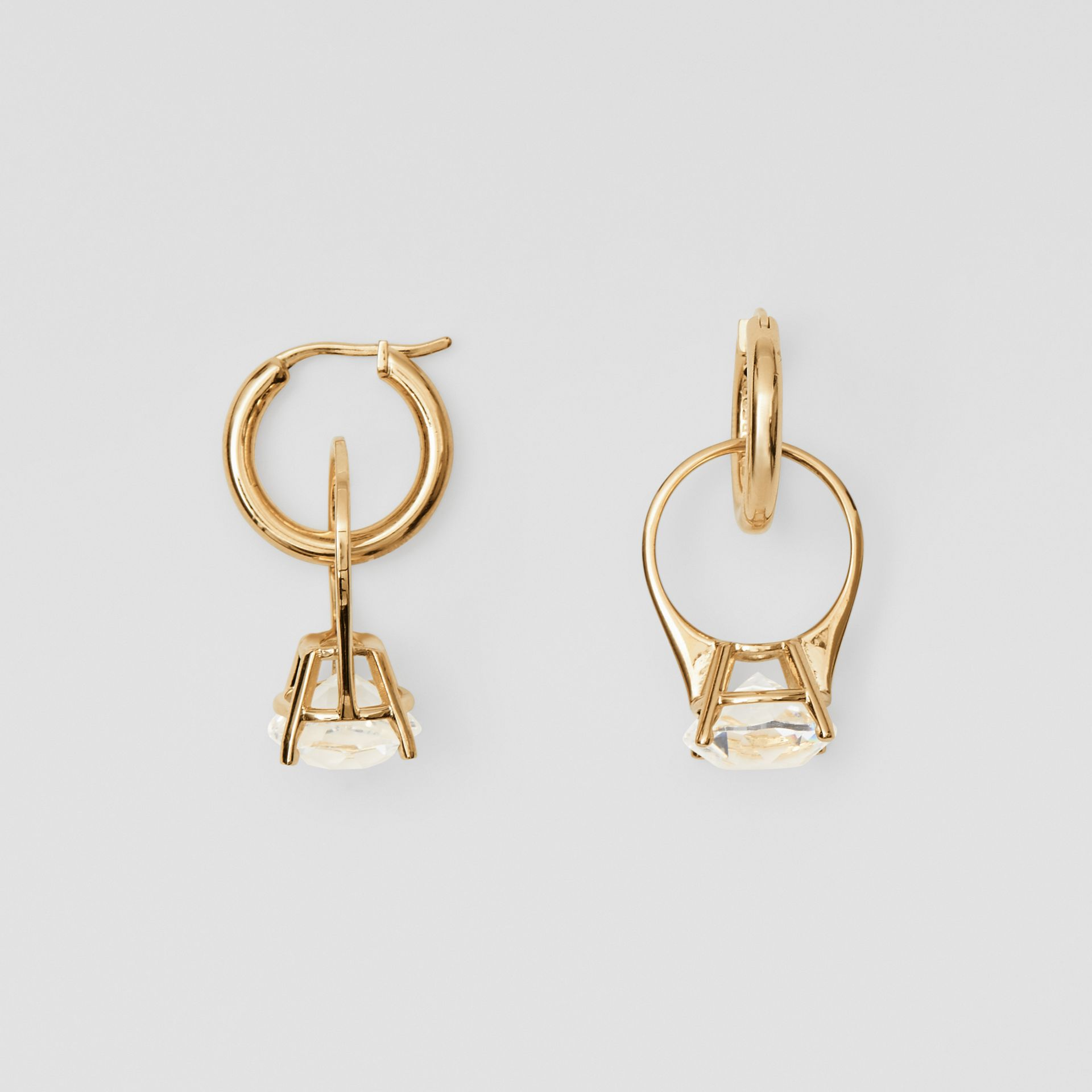 Crystal Ring Detail Gold-plated Hoop Earrings in Light Gold/crystal - Women | Burberry - gallery image 3