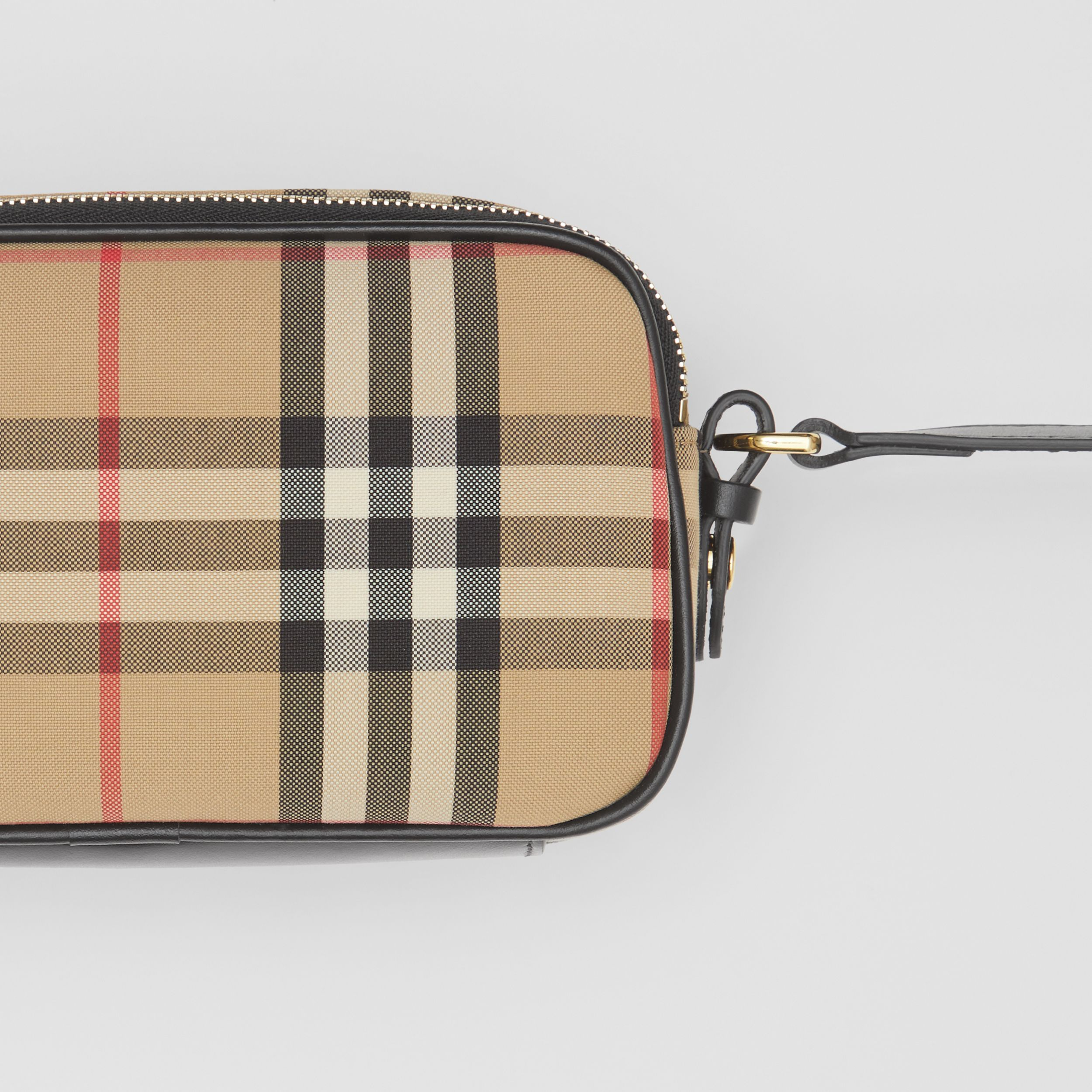 Mini Vintage Check and Leather Camera Bag in Archive Beige | Burberry - 2