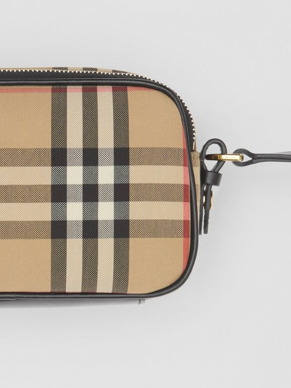 Mini Vintage Check and Leather Camera Bag in Archive Beige | Burberry - cell image 1