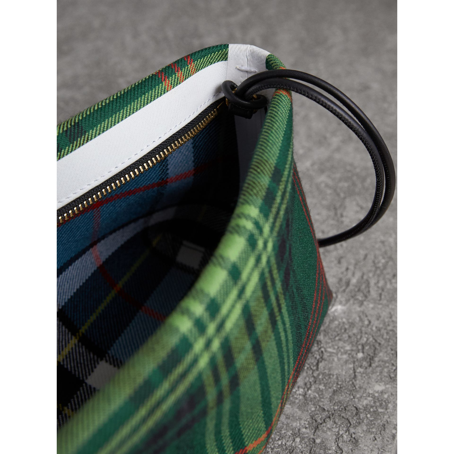 Tartan Cotton Clutch in Pine Green/blue | Burberry Australia - gallery image 6
