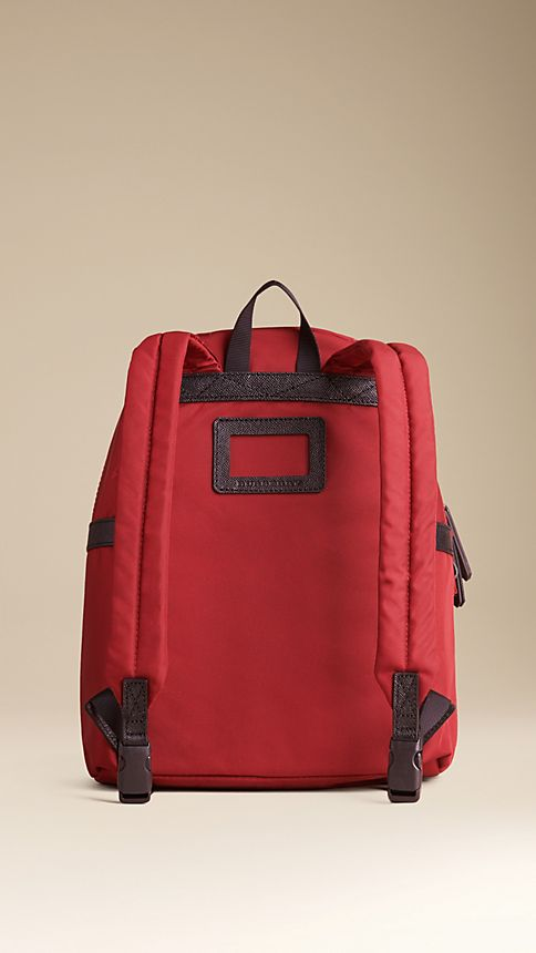 Parade red Leather Detail Nylon Backpack - Image 2