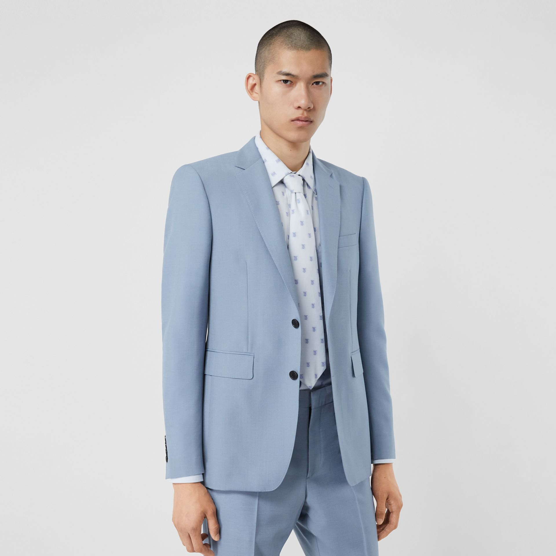 Classic Fit Wool Mohair Tailored Jacket in Pale Blue - Men | Burberry Singapore - gallery image 5