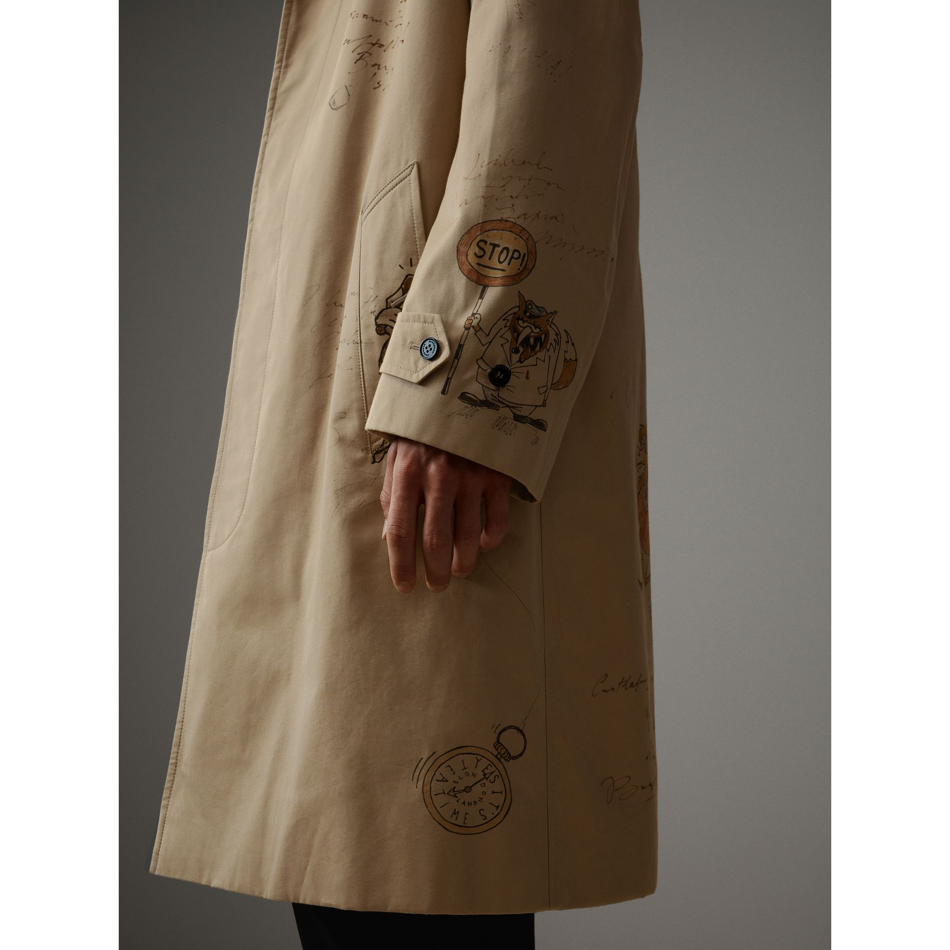 Sketch Print Tropical Gabardine Car Coat in Honey - Men | Burberry - gallery image 6