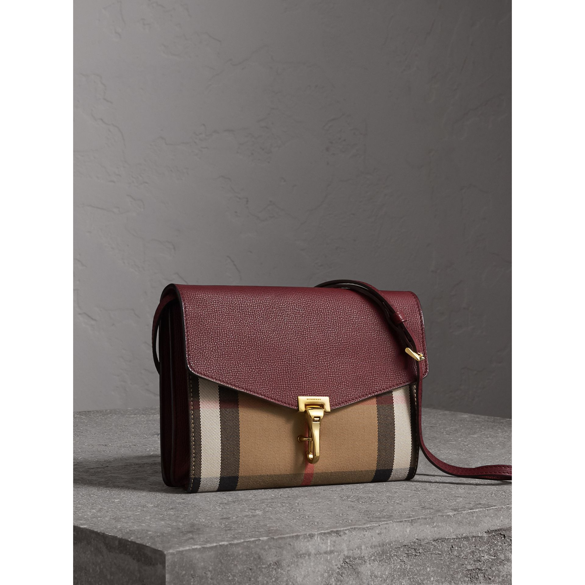 Small Leather and House Check Crossbody Bag in Mahogany Red - Women | Burberry - gallery image 7