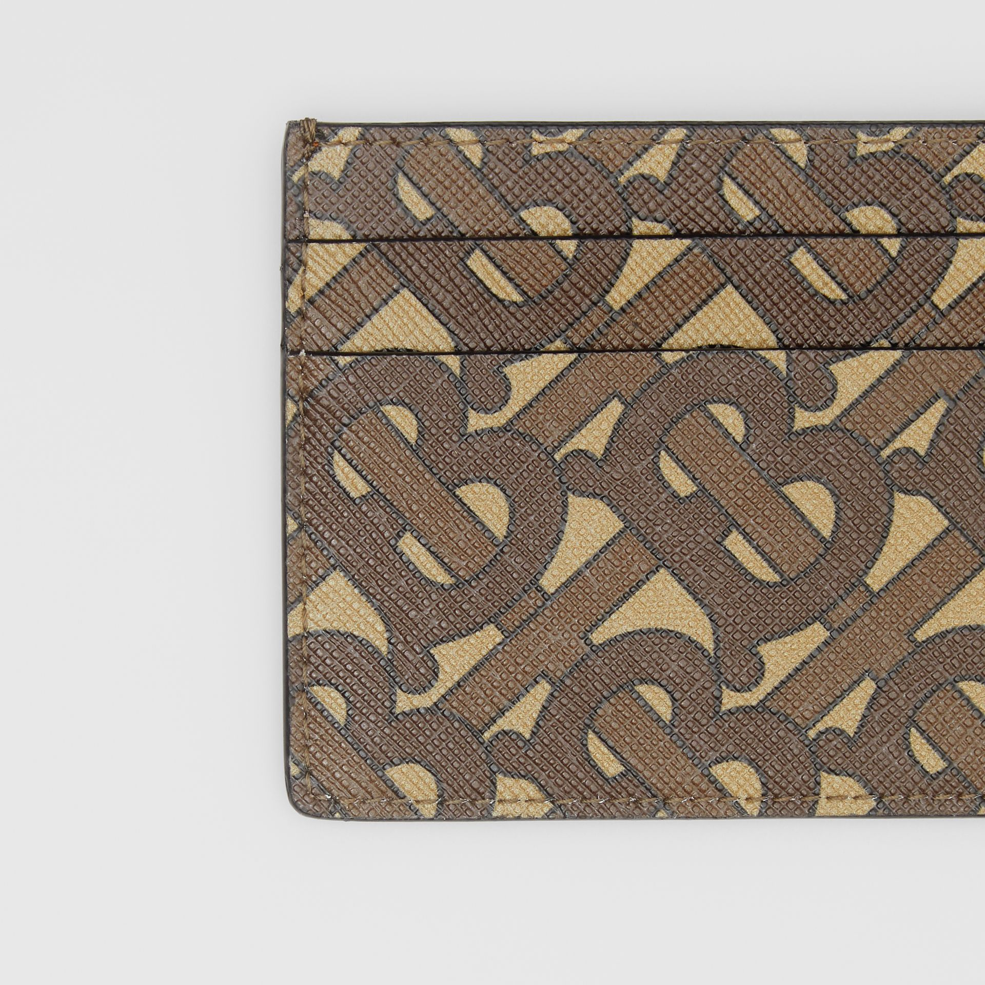 Monogram Print E-canvas Card Case in Bridle Brown | Burberry United Kingdom - gallery image 1