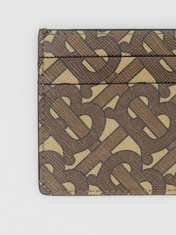 Monogram Print E-canvas Card Case in Bridle Brown | Burberry United Kingdom - cell image 1