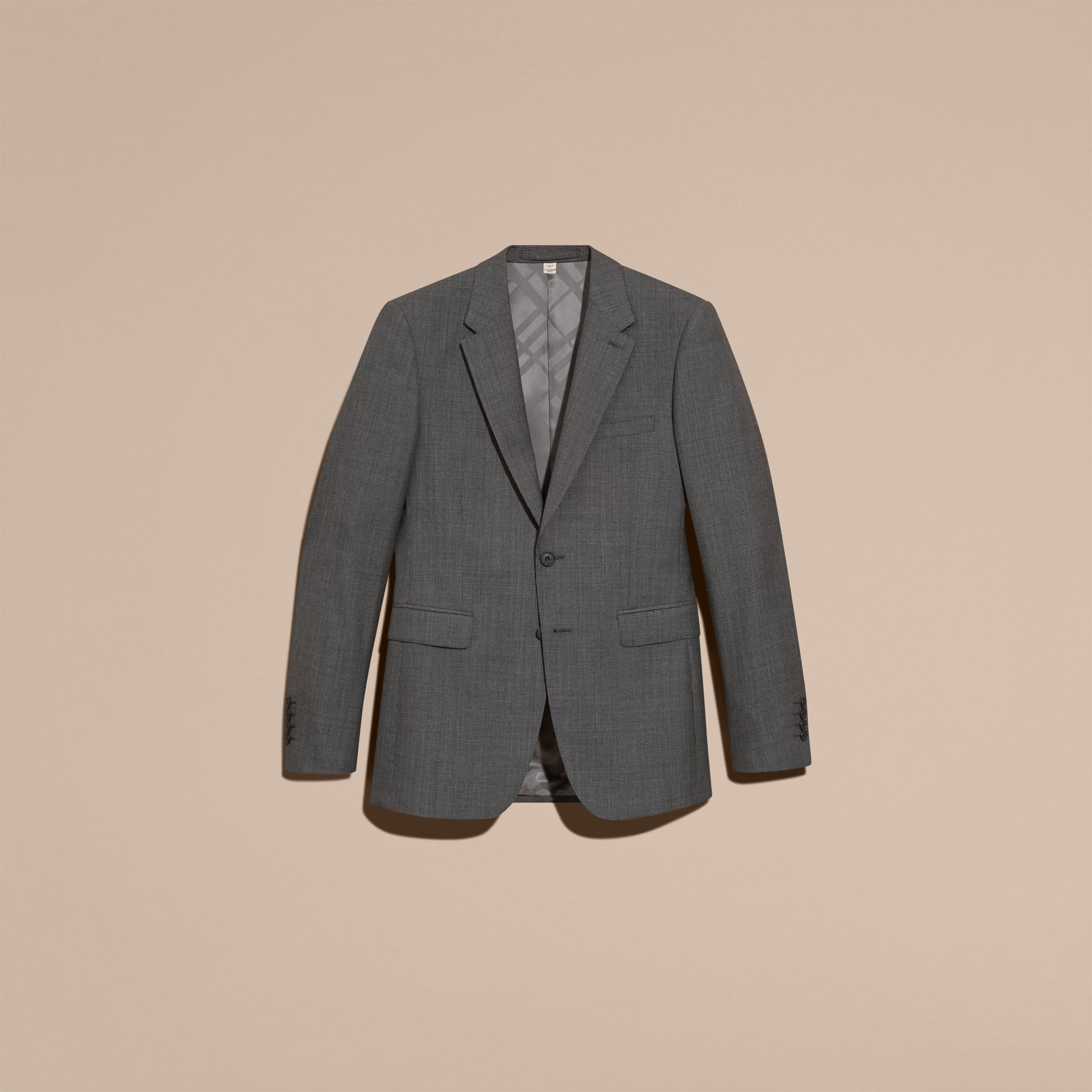 Mid grey melange Modern Fit Wool Cashmere Microcheck Part-canvas Suit - gallery image 4