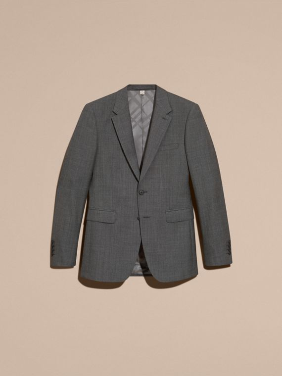 Mid grey melange Modern Fit Wool Cashmere Microcheck Part-canvas Suit - cell image 3