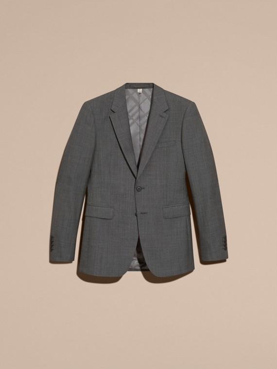 Mittelgrau meliert Modern geschnittener Anzug aus Wolle und Kaschmir mit Micro Check-Muster - cell image 3