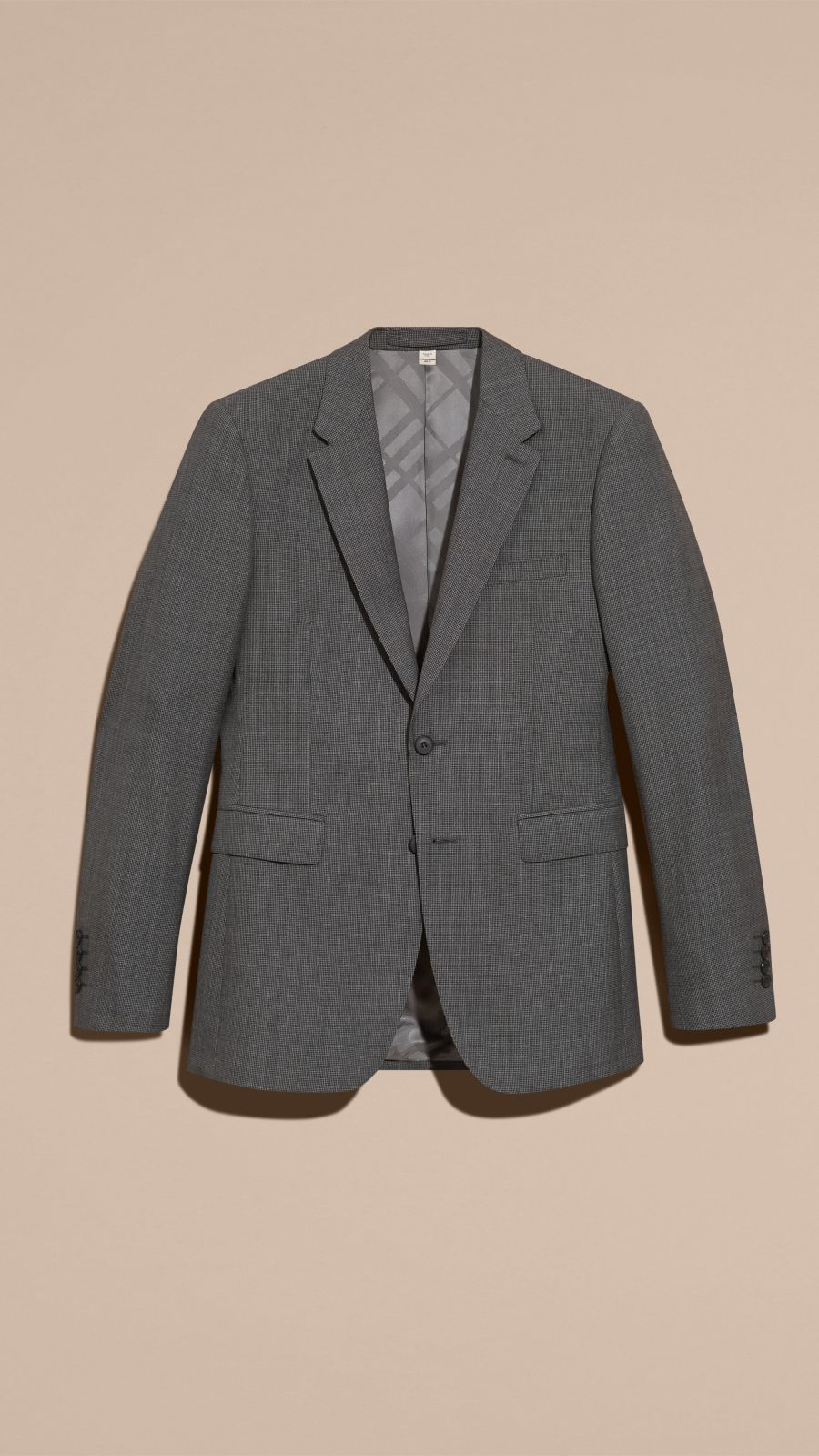 Mid grey melange Modern Fit Wool Cashmere Microcheck Part-canvas Suit - Image 4