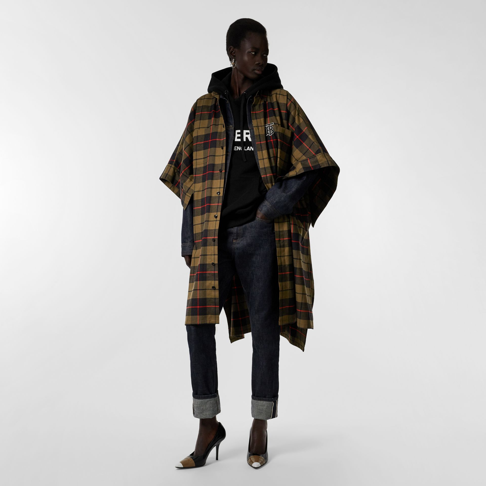 Monogram Motif Check Cotton Oversized Poncho in Military Olive | Burberry - gallery image 0