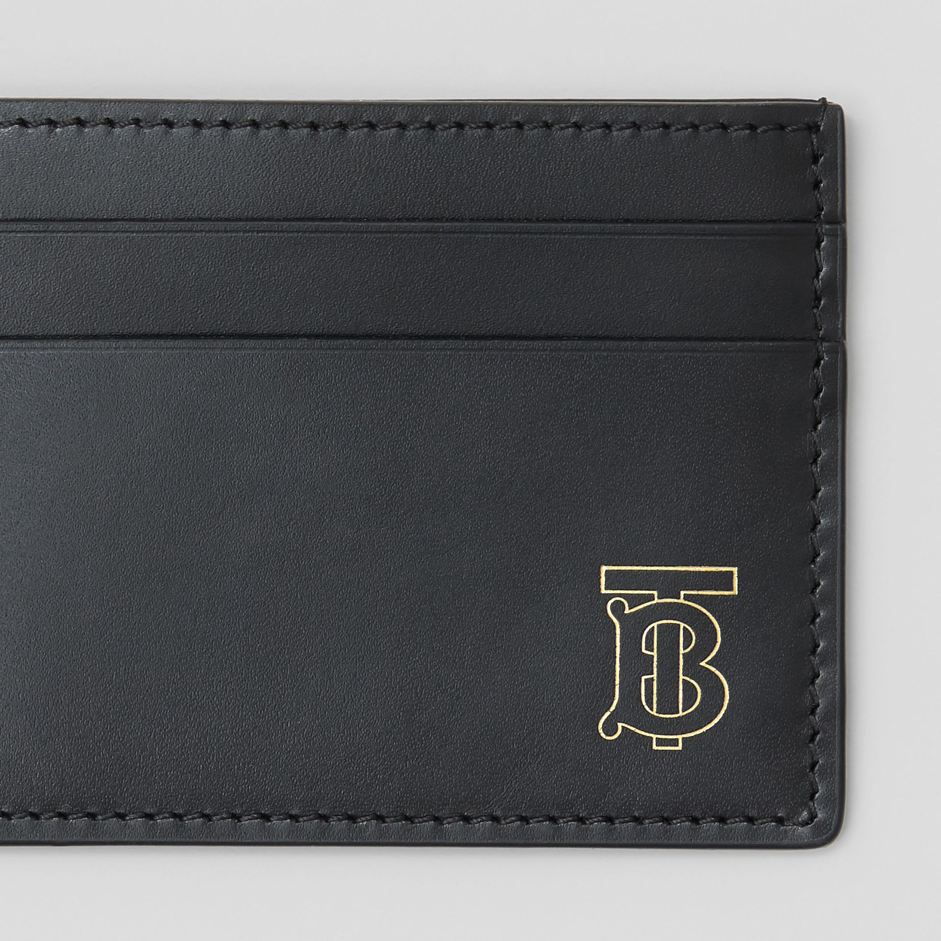 Monogram Motif Leather Card Case in Black - Men | Burberry - gallery image 1