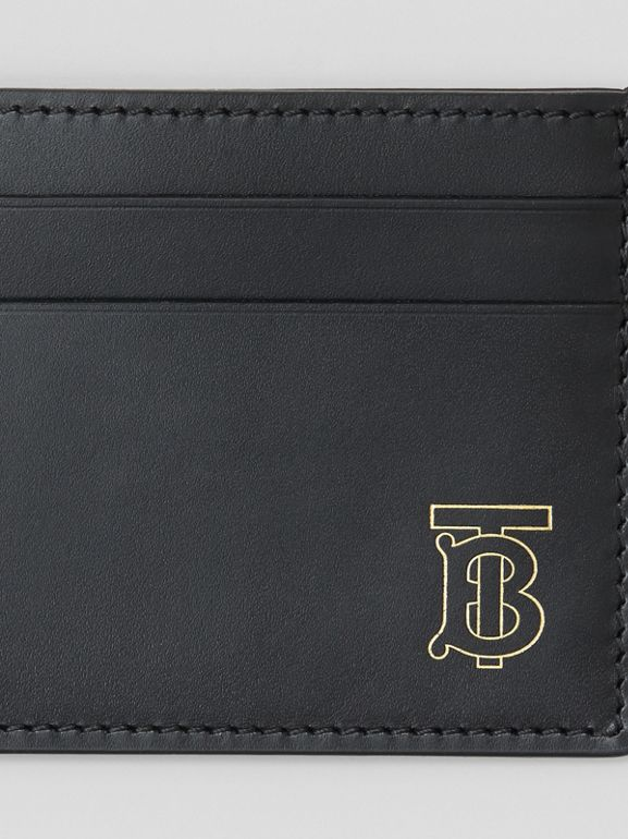Monogram Motif Leather Card Case in Black - Men | Burberry - cell image 1