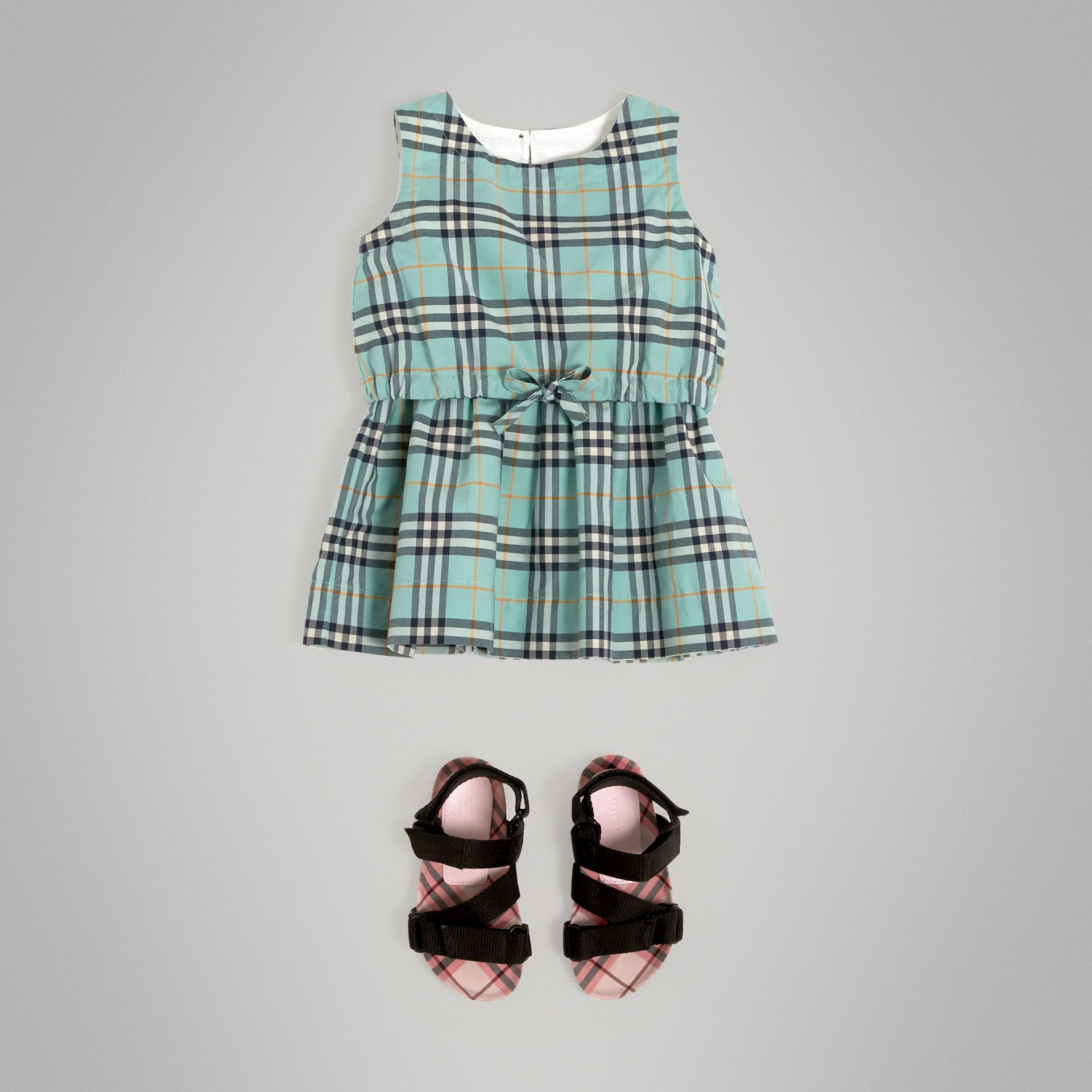 Gathered Check Cotton Dress in Bright Aqua - Children | Burberry - gallery image 2