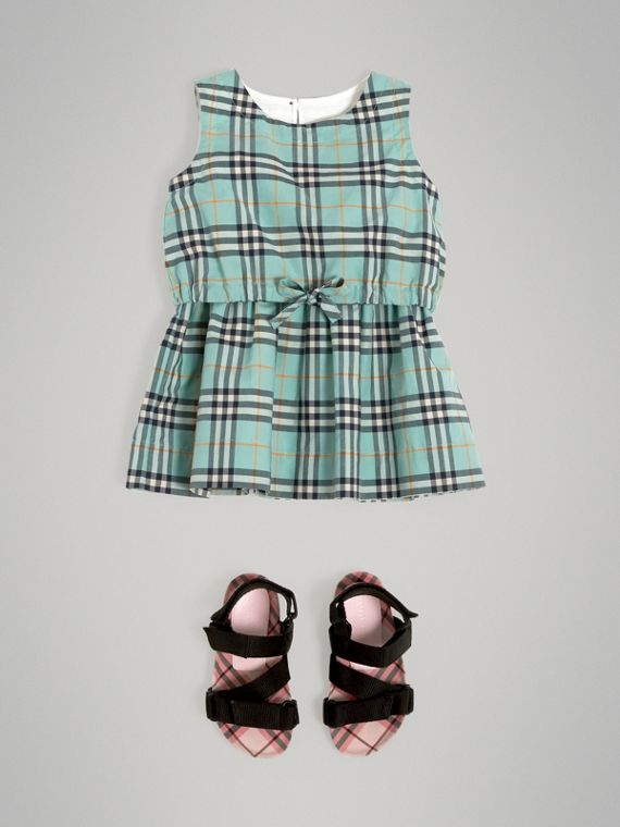 Gathered Check Cotton Dress in Bright Aqua | Burberry - cell image 2