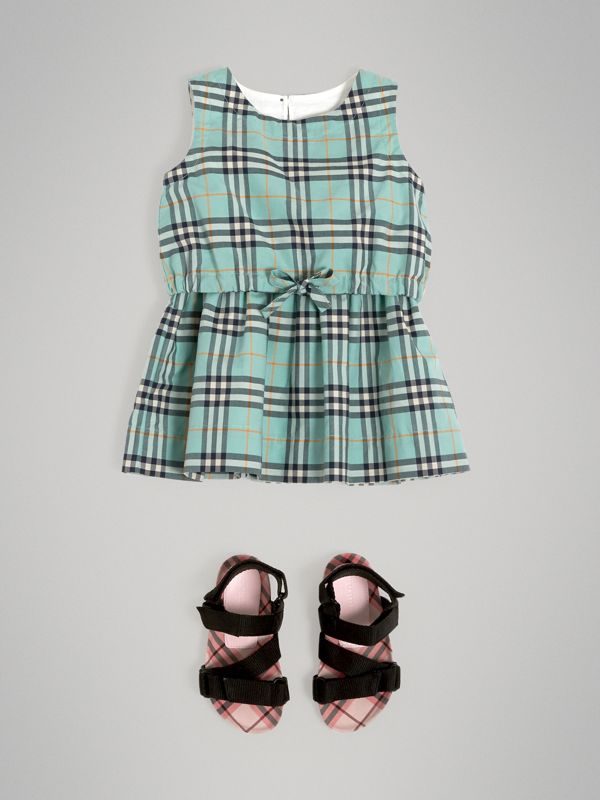 Gathered Check Cotton Dress in Bright Aqua - Children | Burberry - cell image 2