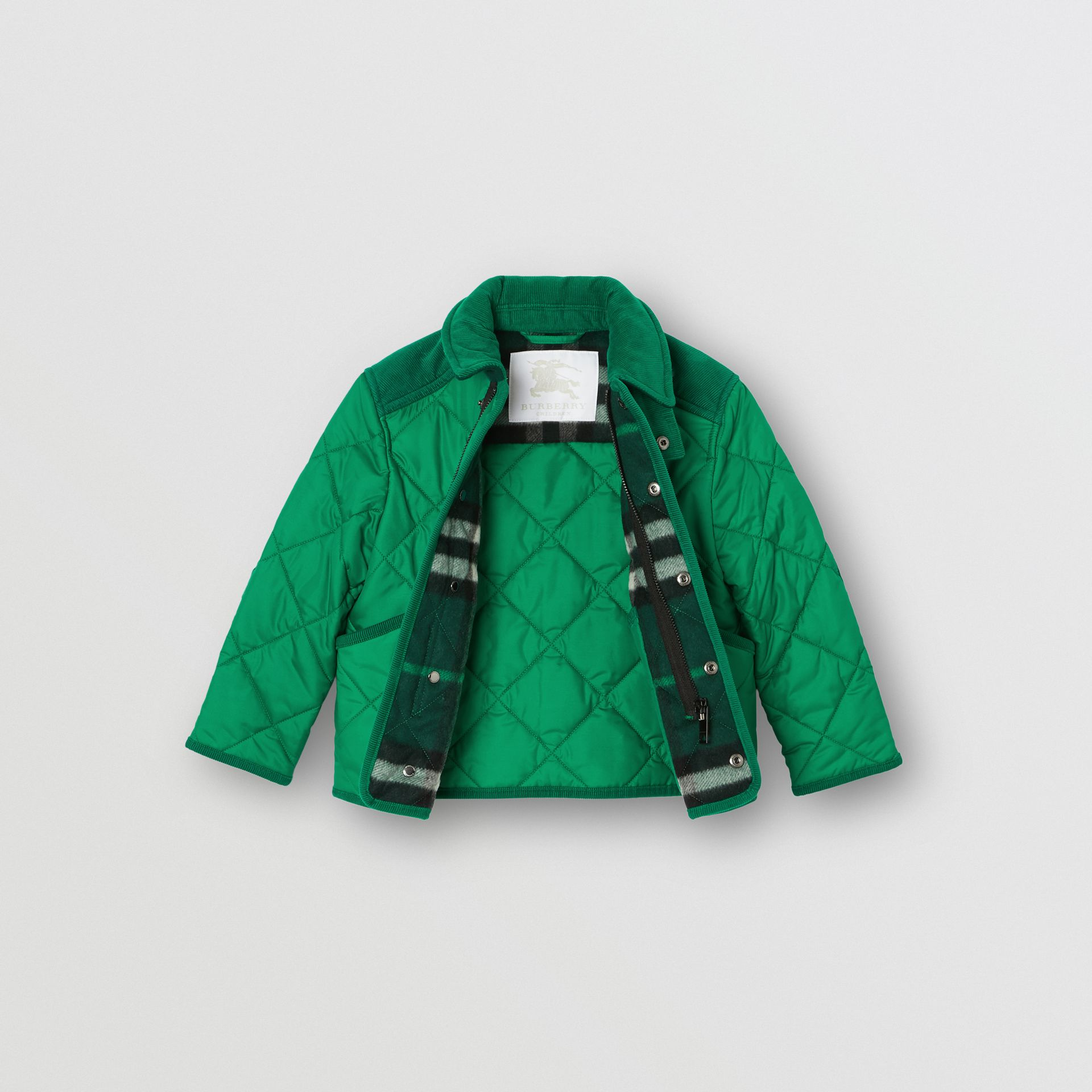 Corduroy Trim Diamond Quilted Jacket in Vibrant Green - Children | Burberry - gallery image 3