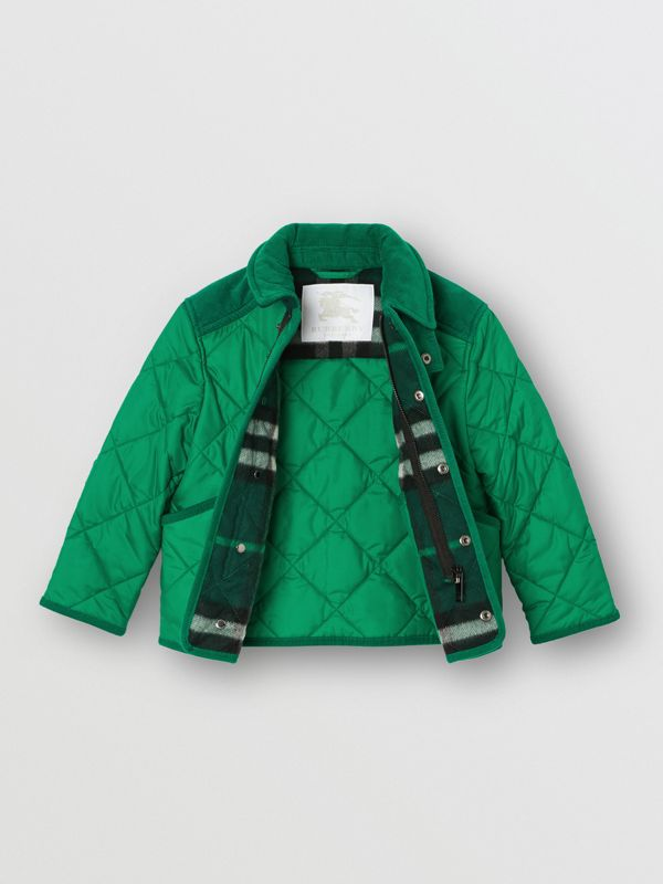 Corduroy Trim Diamond Quilted Jacket in Vibrant Green | Burberry - cell image 3