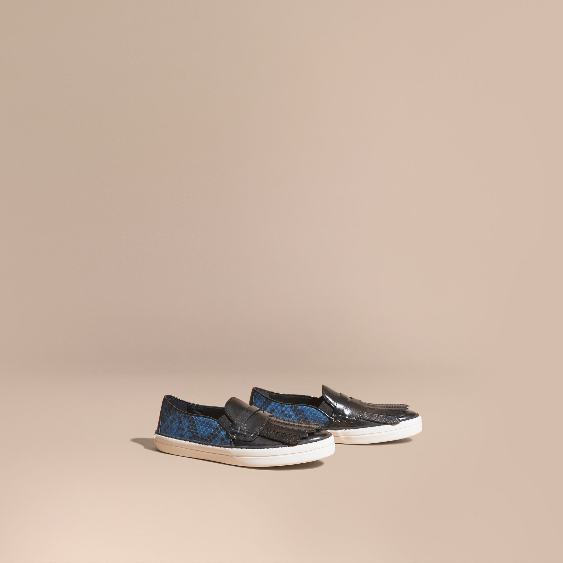 Black/mineral blue Python Print Cotton and Leather Trainers Black/mineral Blue - gallery image 1