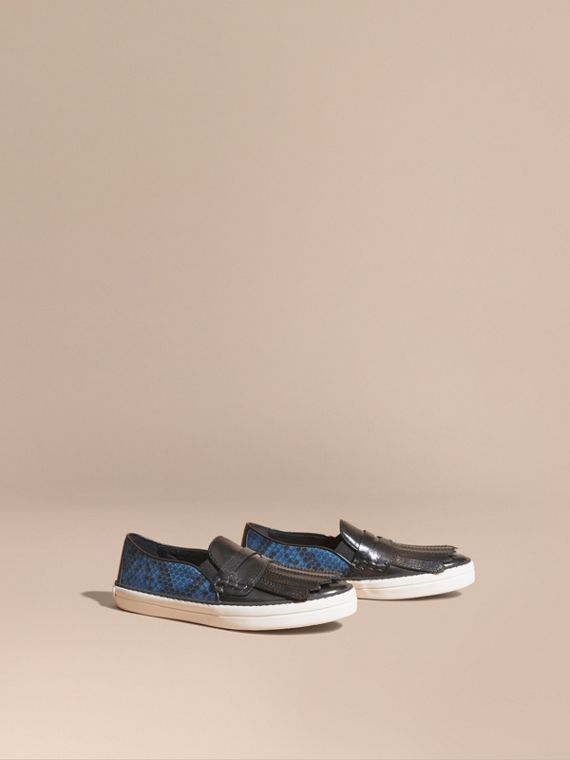 Python Print Cotton and Leather Trainers Black/mineral Blue