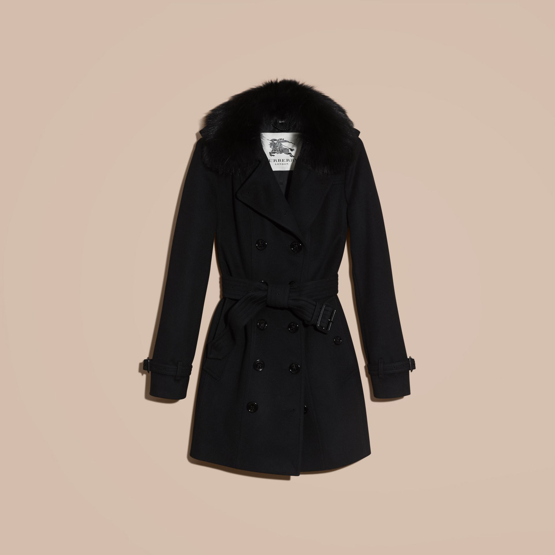 Black Fox Fur Collar Wool Cashmere Trench Coat Black - gallery image 4