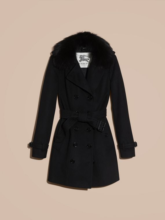 Black Fox Fur Collar Wool Cashmere Trench Coat Black - cell image 3
