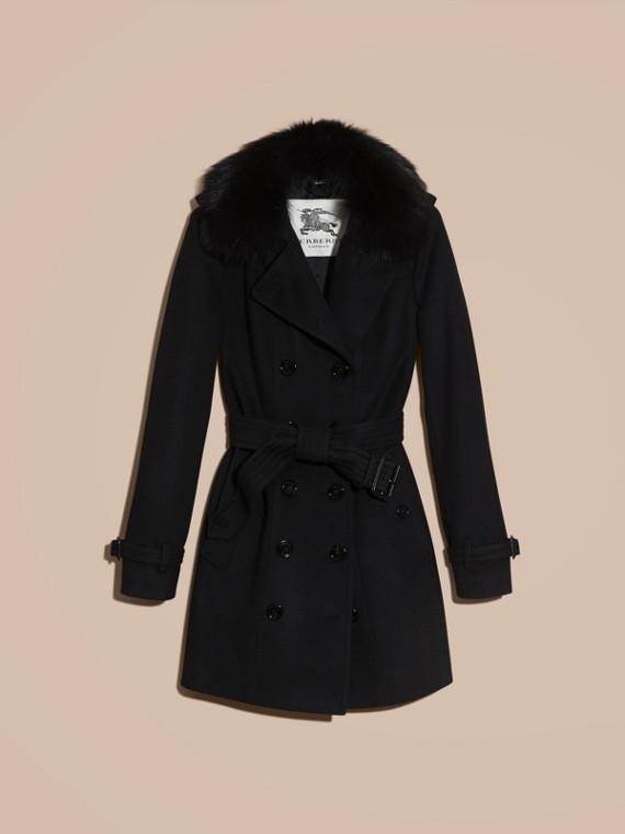 Negro Trench coat en lana y cachemir con cuello en piel de zorro Negro - cell image 3