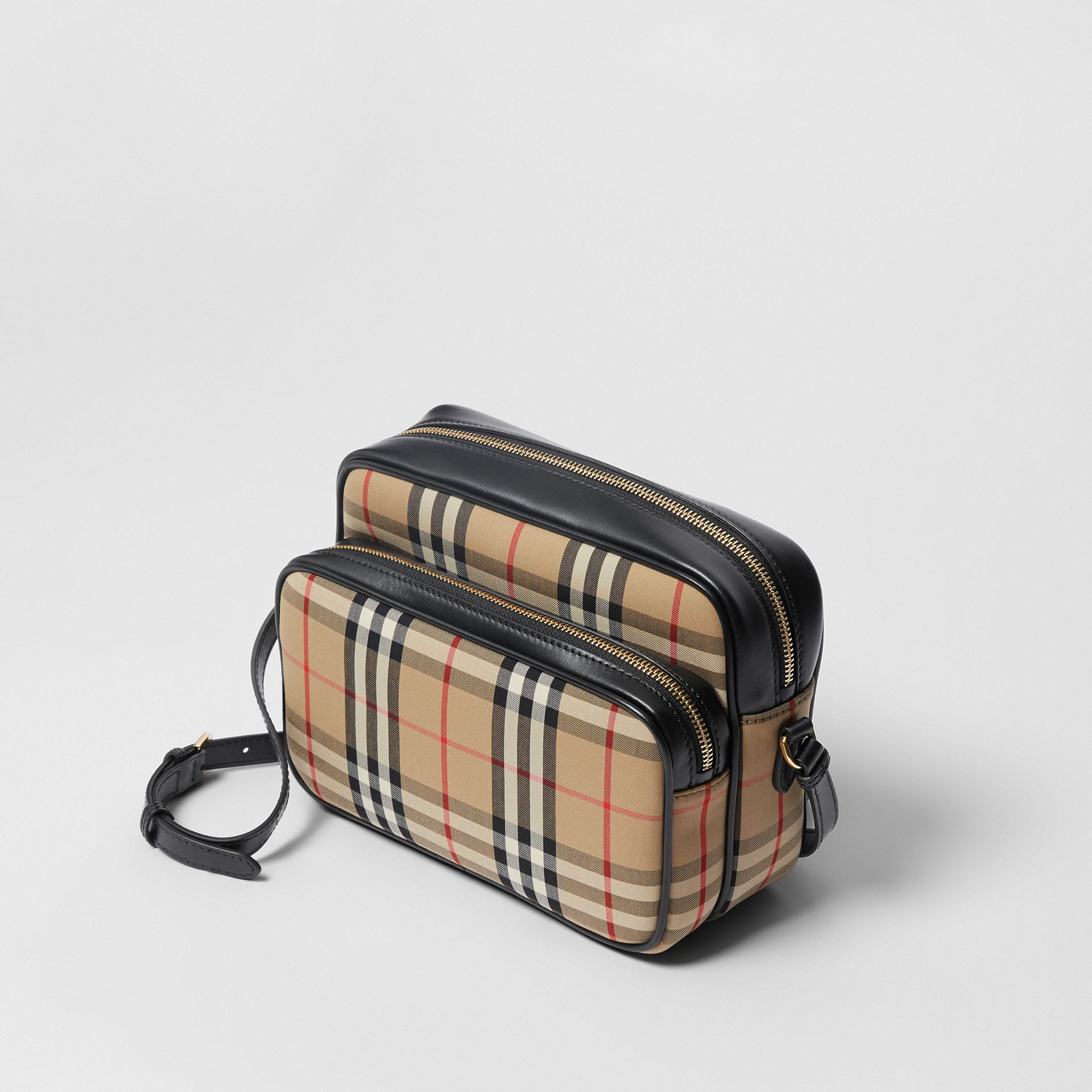Medium Vintage Check and Leather Camera Bag in Archive Beige - Women | Burberry - gallery image 3