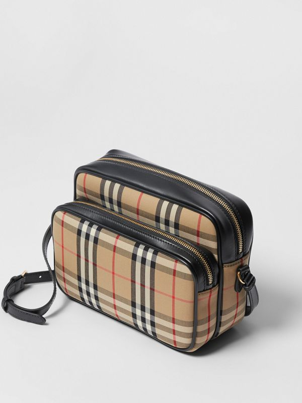 Medium Vintage Check and Leather Camera Bag in Archive Beige - Women | Burberry Canada - cell image 2