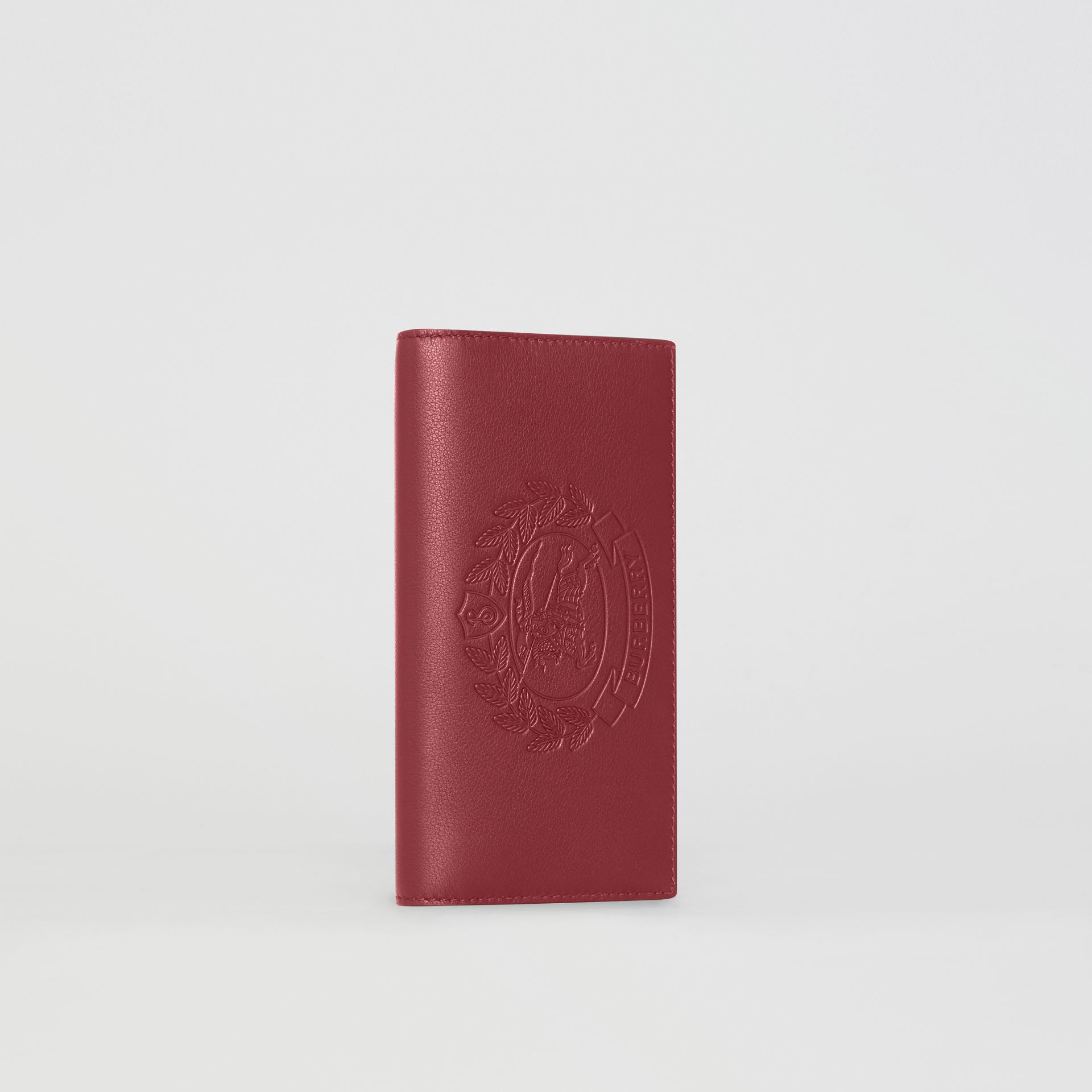 Embossed Crest Leather Continental Wallet in Crimson - Men | Burberry - gallery image 4