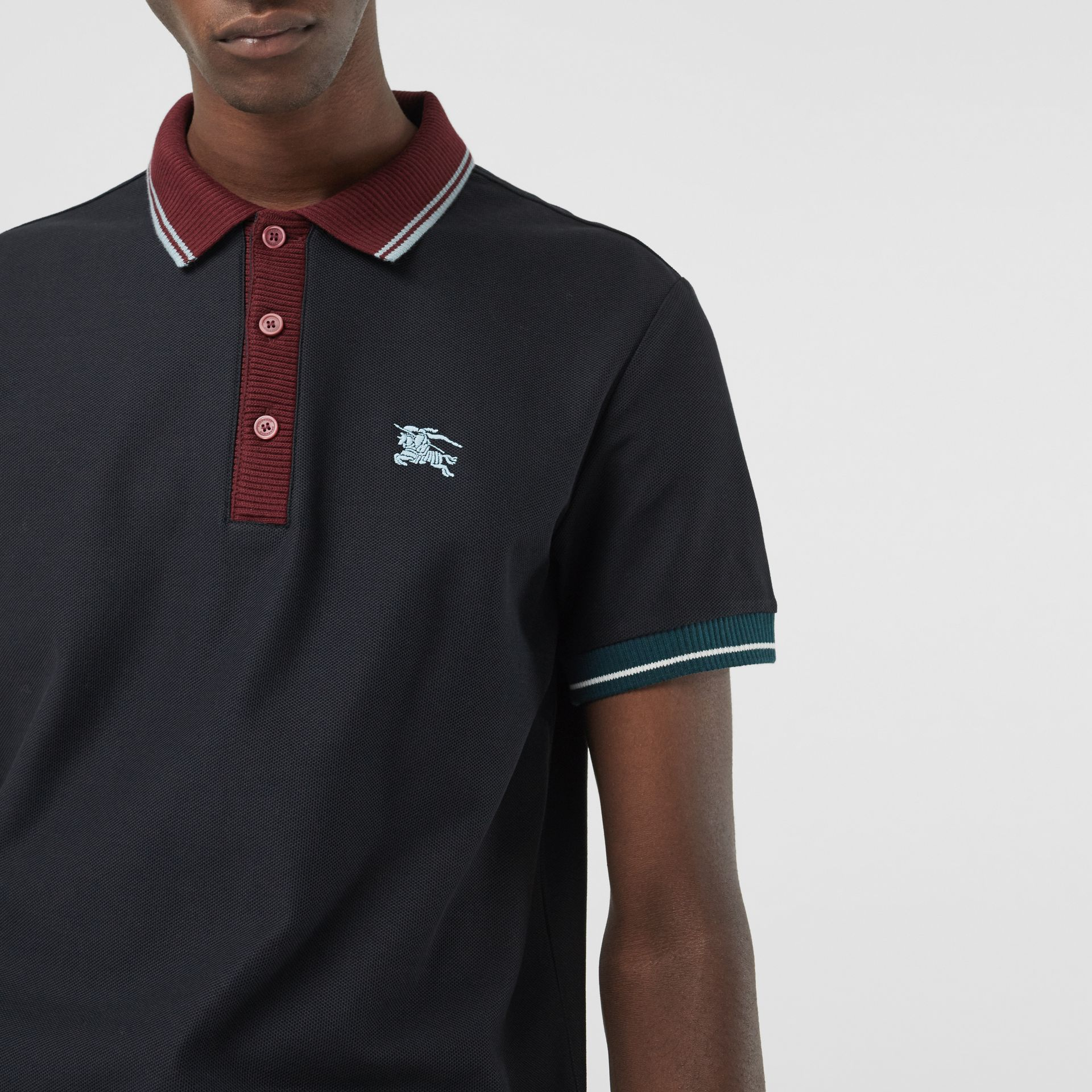 Tipped Cotton Piqué Polo Shirt in Dark Navy - Men | Burberry Canada - gallery image 1