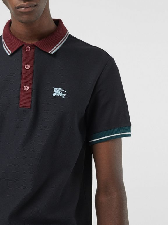 Tipped Cotton Piqué Polo Shirt in Dark Navy - Men | Burberry Canada - cell image 1