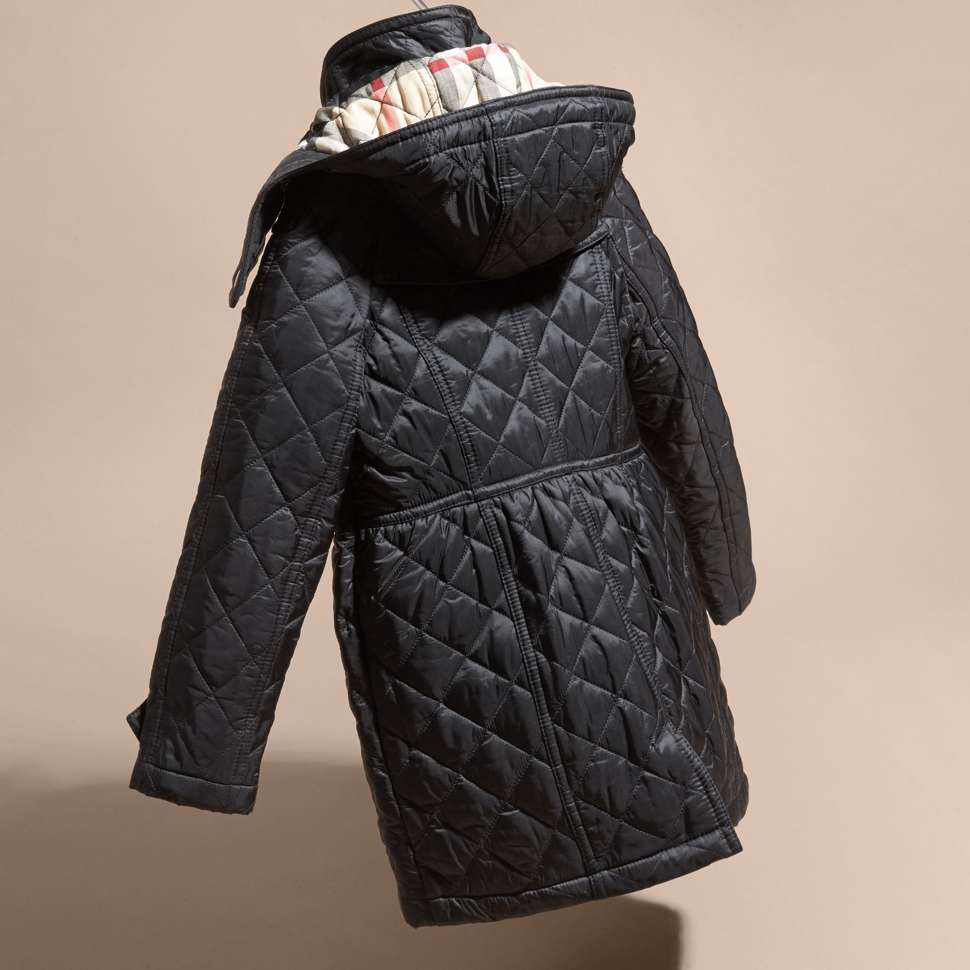 Diamond Quilted Trench Coat in Black - Girl | Burberry - gallery image 4