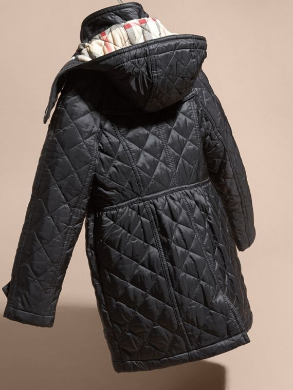 Black Diamond Quilted Trench Coat - cell image 3