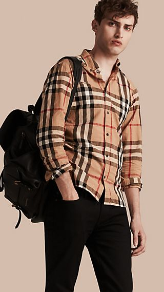 Button-down Collar Check Linen Cotton Shirt