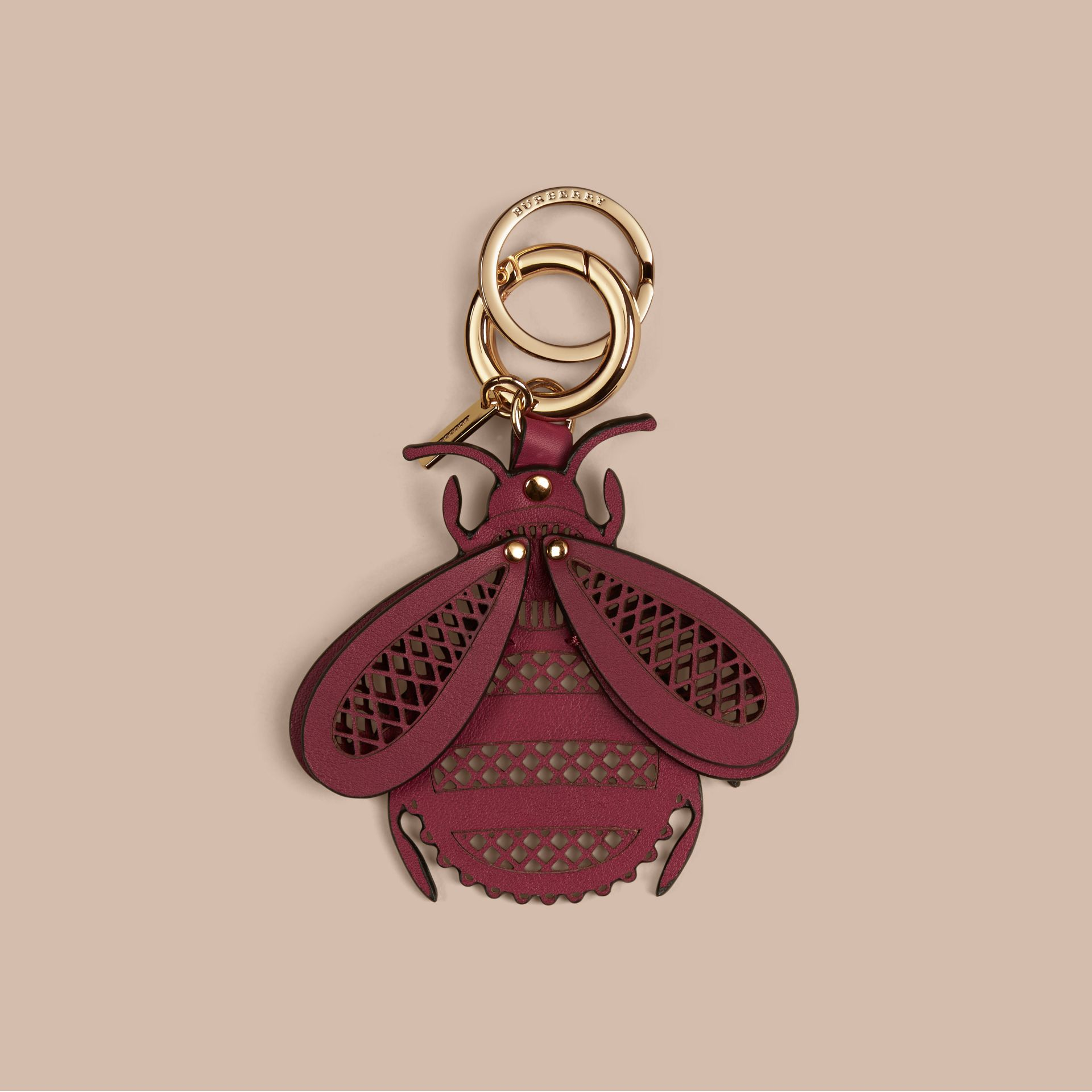 Damson pink Laser-cut Leather Bug Key Charm Damson Pink - gallery image 1