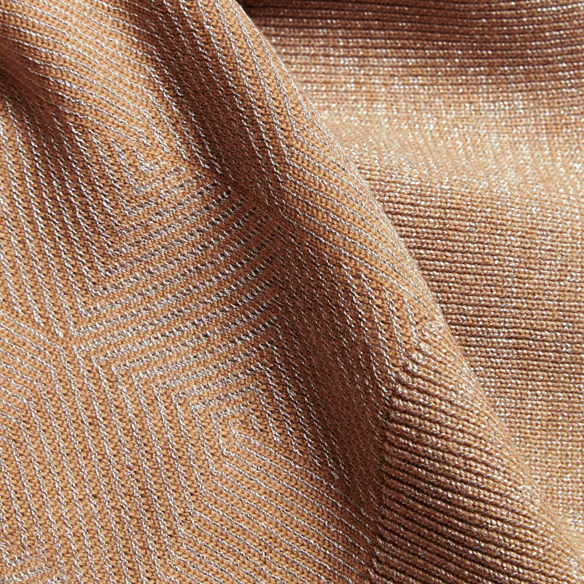 Camel Check Merino Wool and Metallic Sweater - gallery image 2